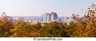 high-rise buildings and trees yellowed