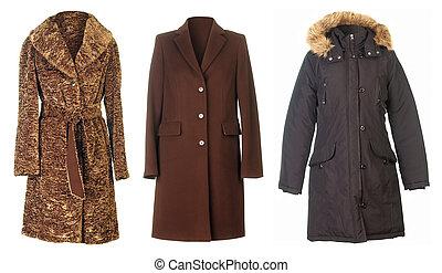 Three coats isolated on white background