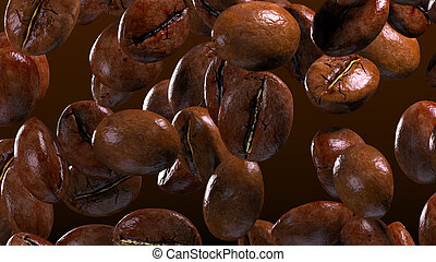 fall coffee beans in smoke - high quality 3d render image