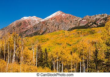 Freshly fallen snow on mountains along Kebler Pass near Crested Butte Colorado on sunny fall morning