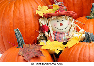 Fall Color - Decorative Scarecrow Surrounded By Pumpkins To...