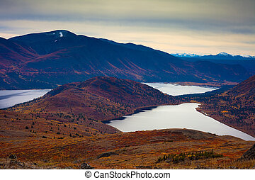 Fall-colored mountain lakes landscape