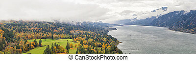 Fall Colors at Columbia River Gorge Panorama