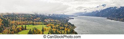 Fall Colors at Columbia River Gorge Panorama