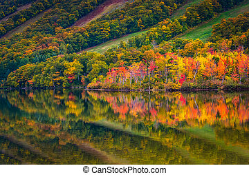 Fall colors reflecting in Echo Lake, in Franconia Notch State Pa