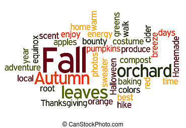 Fall Colors Wordcloud - Fall Autumn Word Cloud in Red Orange...