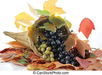 fall composition - A Fall arrangement in a cornucopia with...