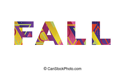 Fall Concept Retro Colorful Word Art Illustration