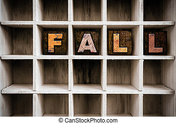 Fall Concept Wooden Letterpress Type in Draw