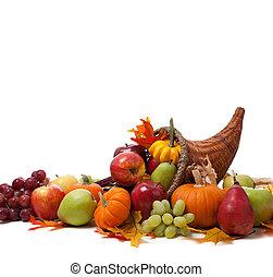 Fall cornucopia on a White back ground - A Fall arrangement ...