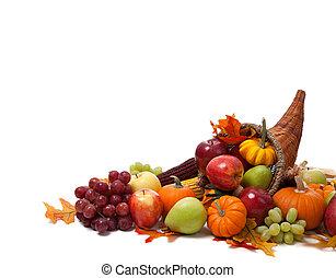 Fall cornucopia on a White back ground - A Fall arrangement...