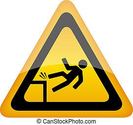Fall danger warning sign, vector illustration