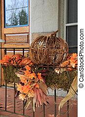 Fall decorations on railing