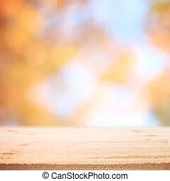 Fall blurred background with wooden table for your design. Vector illustration.