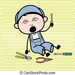 Fall Down and Screaming - Retro Repairman Cartoon Worker Vector Illustration