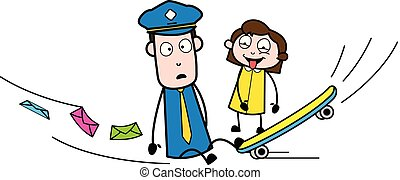 Fall Down from Skateboard and Letters got Spread - Retro Postman Cartoon Courier Guy Vector Illustration