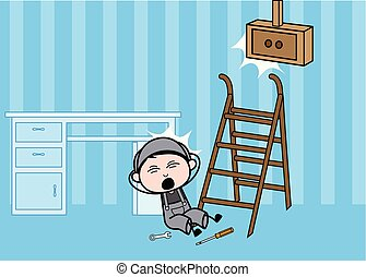 Fall Down from Stairs - Retro Repairman Cartoon Worker Vector Illustration
