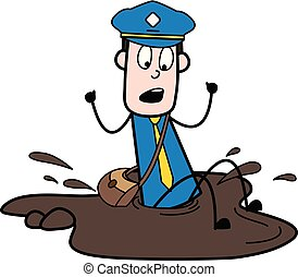 Fall Down in Mud - Retro Postman Cartoon Courier Guy Vector Illustration