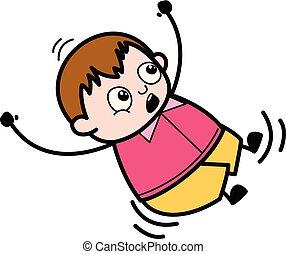 Fall Down - Teenager Cartoon Fat Boy Vector Illustration