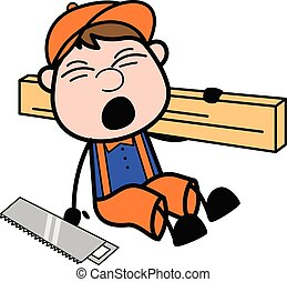 Fall Down While Carrying a Large Wooden Plank - Retro Cartoon Carpenter Worker Vector Illustration