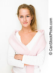 Fall fashion girl. - Portrait of fall fashion girl in white...