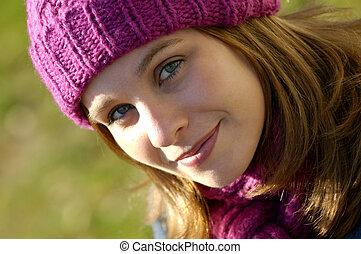 Fall Fashion - Beautiful Young Woman On A Sunny Fall day