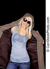 Fall fashion - Beautiful blond girl with fashionable coat...