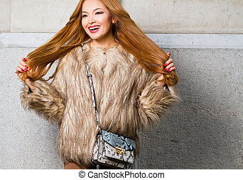 Fall fashion with asian beauty. - Outdoors fall fashion with...