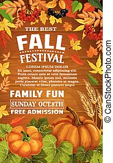 Fall festival poster of autumn harvest template - Fall...