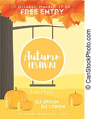 Fall Festival template. Bright colourful autumn landscape on vertical background. Template for holidays, concerts and parties.