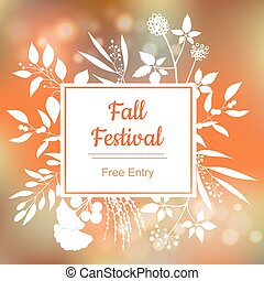 Fall festival. Vector colorful illustration on blurred ...