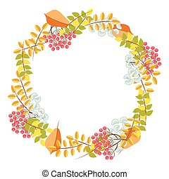 Fall floral bouquet wreath vector.