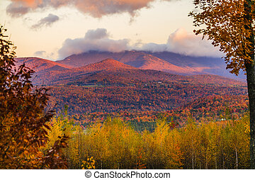 Fall foliage on Mt. Mansfield in Stowe, Vermont, USA - Fall...