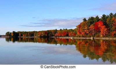 Fall Foliage Reflections Lake Sabago Maine - Autumn fall...