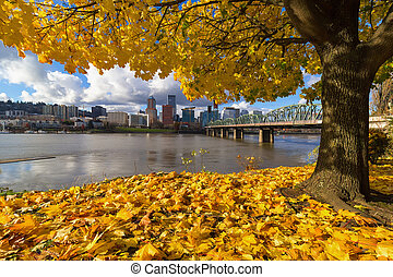 Fall Foliage with Portland Oregon City
