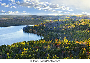 Fall forest and lake top view - Fall forest and lake with...