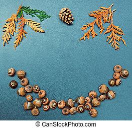 Fall frame, cone, acorns, cedar