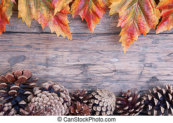 Fall Frame - Fall Background with Frame of Autumn Leaves and...