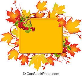 Fall frame - Fall colors adorn background, perfect for...