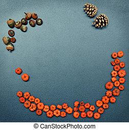 Fall frame, pumpkins, cones, acorn