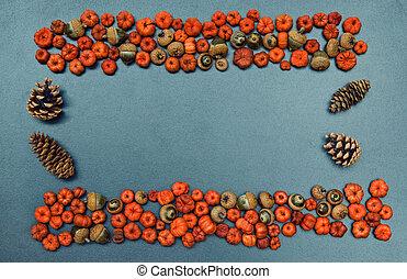 Fall frame, pumpkins, cones, acorns