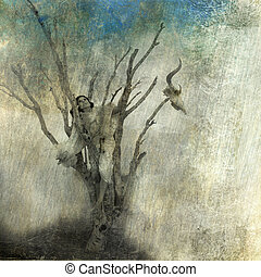 Woman in dead tree. Photo based mixed medium art.