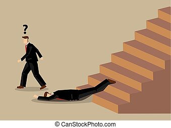 Fall from Stairs Accident at Office Workplace Cartoon Vector Illustration
