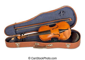 fall, gammal, isolerat, bog, bakgrund, violin, vit