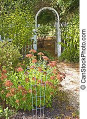 Fall Garden with Trellis - Fall garden scene with trellis in...
