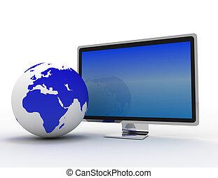 fall, global, tv, klot, widescreen, isolerat, telekommunikation, white., mull, vit, concept.