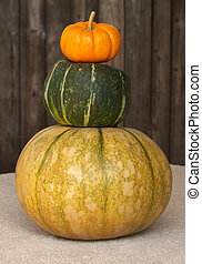 fall gourds stacked