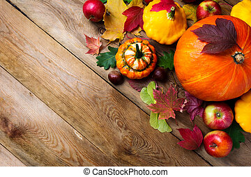 fall greeting background with yellow gourd, copy space. -...