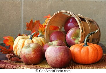 Fall Harvest - Bushel of red apples with pumpkins and autumn...
