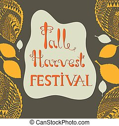 Fall Harvest Festival Poster with Lettering